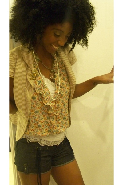Forever21 jacket - Forever21 blouse - intimate - Wet Seal shorts