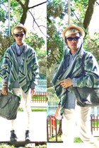 raffia SM Dept Store hat - H&M shirt - ponchoodie Yves Identify hoodie