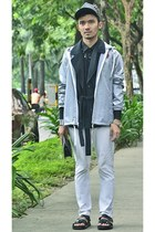 silver waterproof DC jacket - navy robe Sonneur jacket