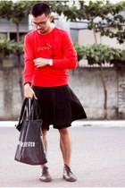 black Rajo Milanos shoes - red Puma sweater - black ann demeulemeester bag
