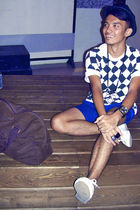 brown Diesel accessories - blue united colors of benetton shorts - white shoes -