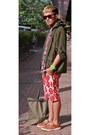 Red-yves-identify-shorts-dark-khaki-lace-thompsons-crocs-shoes
