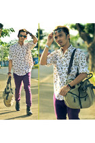 purple pants - ivory acorn print Cabin Creek shirt - camel SIMON Apparel bag