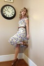 White-floral-print-hand-me-down-dress-brown-braided-calvin-klein-belt