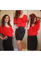 red f21 blouse - black pencil H&M skirt