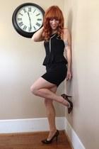 black peplum American Eagle dress - dark brown cheetah Rampage heels