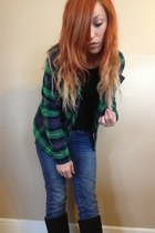 green plaid thrifted jacket - blue American Eagle jeans