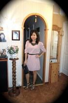 H&M dress - clutch thrifted vintage bag - Friis & Company heels - black bib Cubu