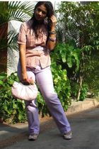 beige blouse - purple jeans - beige shoes - purple belt - pink purse