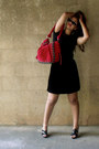 Black-cotton-shirt-ruby-red-velvet-complot-purse-black-velvet-skirt