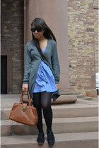 gray long H&M cardigan - blue polka dot Zara dress - brown Pimkie bag