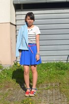 sky blue Primark jacket - red Primark belt - white Zara t-shirt