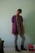 ninety  degrees top - Secondhand leggings - rethail therapy online boots - scarf