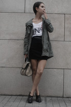 green Primark jacket - black H&M skirt