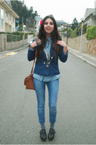 blue H&M jacket - blue Zara jeans - black Zara shoes