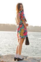 black Zara loafers - bubble gum by me dress - vintage bag