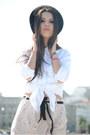 Black-h-m-hat-cream-zara-shirt-light-pink-blanco-skirt