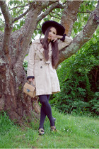 old coat - black asos hat - Dayaday bag - OASAP loafers