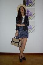 black Zara jacket - blue Zara skirt
