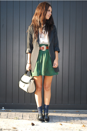 green H&M skirt - black Zara blazer - beige Zara purse