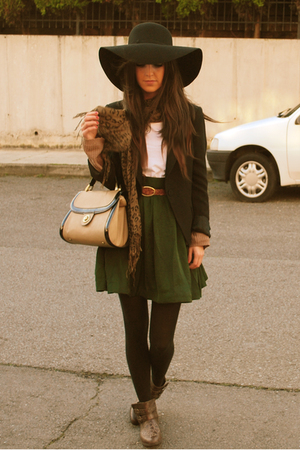 green H&amp;M skirt - brown BSK boots - black Zara hat