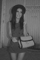 blue Primark dress - beige Zara purse - black H&M hat