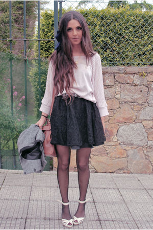 black H&amp;M skirt - pink pull&amp;bear cardigan - beige old shoes