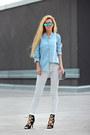 White-jeans-light-blue-denim-shirt-choies-shirt-white-woakao-bag