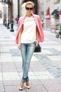 Sky-blue-jeans-salmon-blazer-black-sunglasses-white-sheinside-blouse