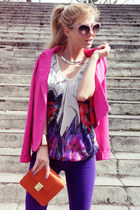 hot pink blazer - deep purple jeans - carrot orange bag - white blouse