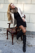 camel scarf - black boots - black dress - neutral blazer