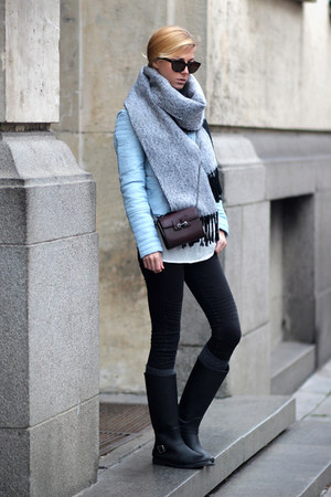 light blue biker jacket Choies jacket - black jeans - heather gray scarf