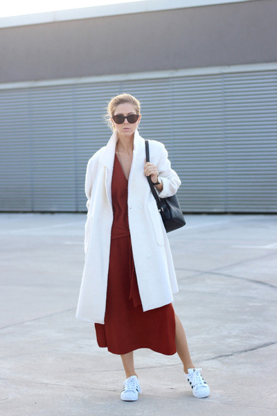 brick red dress - ivory romwe coat - black bag - white Adidas sneakers