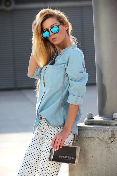 white jeans - light blue denim shirt Choies shirt - white WOAKAO bag