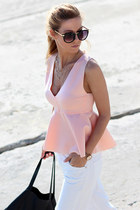 light pink peplum blouse Choies blouse - white jeans - black bag