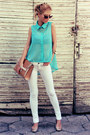 White-jeans-turquoise-blue-shirt-tan-bag-gold-flats