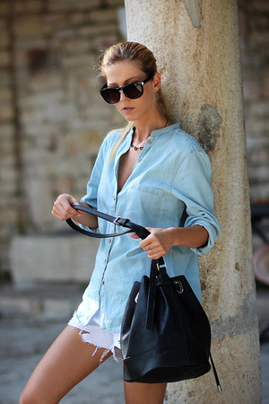 light blue Choies shirt - black bag - cream Choies shorts