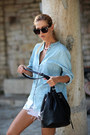 Light-blue-choies-shirt-black-bag-cream-choies-shorts