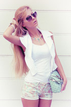 aquamarine bag - aquamarine shorts - white top - white vest