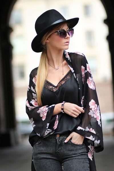 black H&M hat - light pink kimono H&M blazer - black H&M bracelet