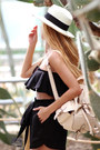 Ivory-hat-eggshell-backpack-choies-bag-black-shorts-beige-sandals