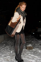silver tights - black shoes - neutral blazer - light brown bag - black shorts