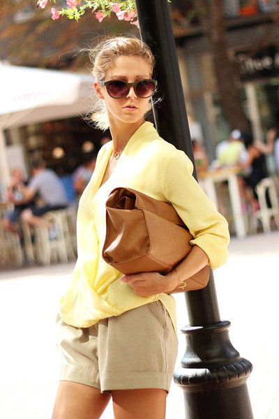 dark brown bag - camel shorts - light yellow Sheinside blouse