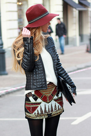 brick red skirt - black boots - brick red hat - black jacket - white sweater