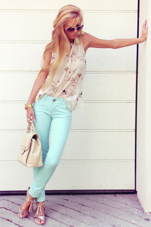 beige bag - aquamarine jeans - beige sandals - neutral top - light pink necklace