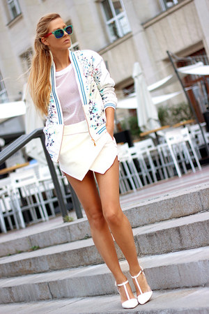 sky blue Choies jacket - ivory skort Choies shorts