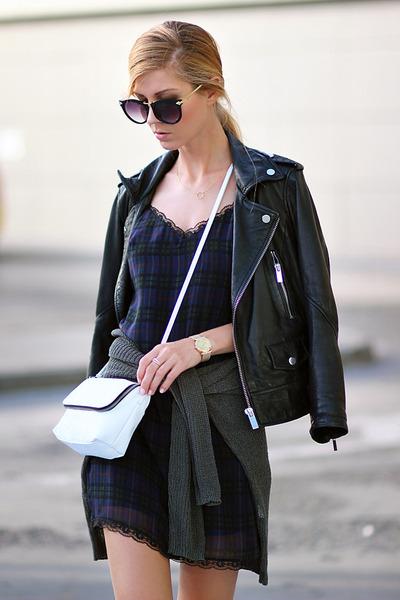 navy dress - black jacket - white bag