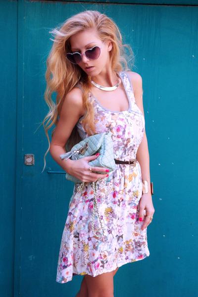 white dress - aquamarine bag - light purple sunglasses - gold flats