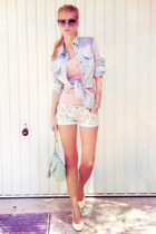 aquamarine bag - light blue shirt - aquamarine shorts - light pink top