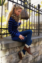 tawny boots - teal jeans - black jacket - light brown scarf - navy jumper